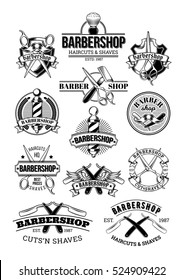 Vector set of barbershop logos, signage, made in engraving style.