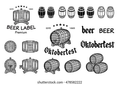 Vector set of barrels in vintage style. Collection on a white background - stock vector. art