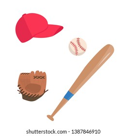 Vector set with baseball attributes: ball, cap, glove and bat, simple illustration in flat style at white background.