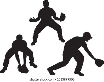 Vector Set Of Baseball Infielder Silhouettes