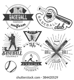 Vector set of baseball labels in vintage style. Sport concept. Design elements, retro emblems and icons isolated on white background. Baseball bat and ball.