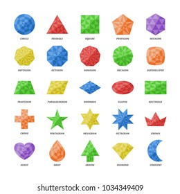Vector set basic geometric diamond shapes. Education flat triangule figures school collection. Triangle, square, pentagon, octagon, trapezium, rhombus, ellipse, heart, star, polygon, moon, brilliant.
