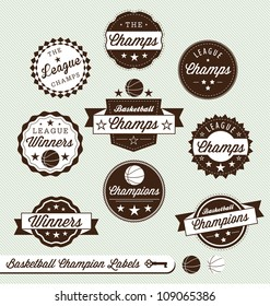 Vector Set: Basketball League Champions Labels with a VIntage Style