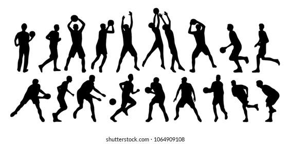 Vector set of basketball players