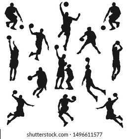 Vector set of Basketball players, silhouettes, Basketball silhouettes,vector Illustration Design.