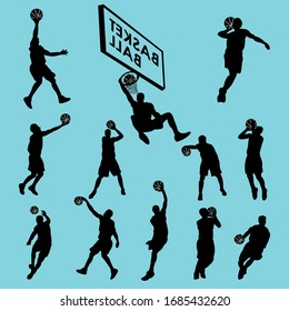 Vector set of basketball players silhouettes, with many dynamic poses