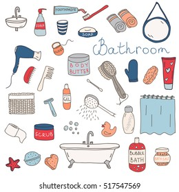 Vector set of bathroom themed objects and appliances. Hand drawn doodle elements.