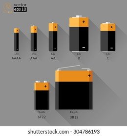 vector set of batteries of different sizes. flat size