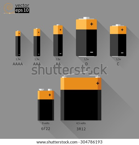 3b27b478838 Vector Set Batteries Different Sizes Flat Stock Vector (Royalty Free ...