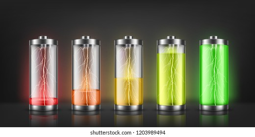 Vector set of battery charge indicators with lightning flashes, with low and high energy levels isolated on background. Full charged and discharged accumulators. Colorful icons for gadget apps