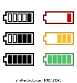 Vector Set of Battery Charging Icons. Levels of Energy.