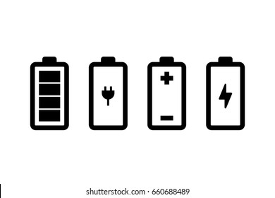 Vector set of battery icons
