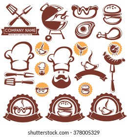 vector set of BBQ design elements, symbols, object and logo template