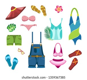 Vector set of beach clothes and tropical leaves on a transparent background.