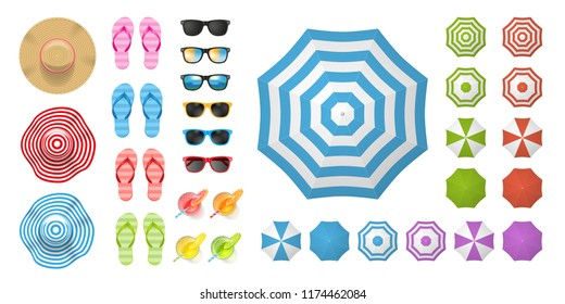 Vector set. Beach elements and objects. (top view) Isolated Vector Illustration. Hats, flip-flops, sunglasses, cocktails, sun umbrellas. (view from above).