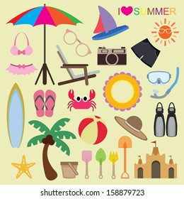 Vector set of beach icons on isolated background
