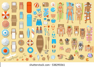 Vector set. Beach top view. A collection of people and elements of summer vacation. View from above.