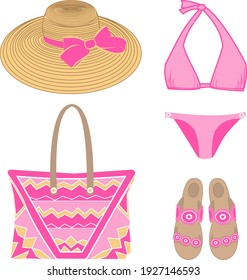 vector set of beachwear, including  bikini swimsuit, sandals, hat, bag in pink and yellow colors on a white background