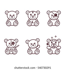 Vector Set of bear icon. Black and White.