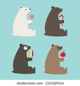 Vector set of bear icons of different colors. Bears hold ice cream, lollipop, candy and an apple. Bears in flat style.