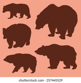 Vector set of bear silhouettes