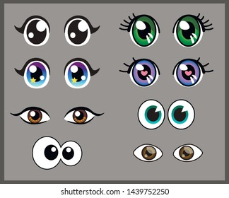 vector set of beautiful cartoon eyes