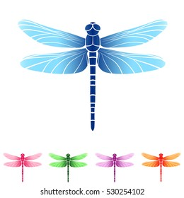 Vector. Set of beautiful colorful dragonflies. Isolated.