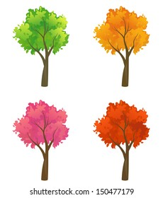 Vector set of beautiful colorful trees