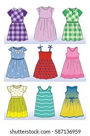 vector set with beautiful dresses for little girls