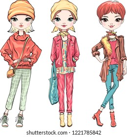 Vector set of beautiful fashion hipster girls top model with bag in autumn clothes, hat, headscarf and boots, jacket and jeans