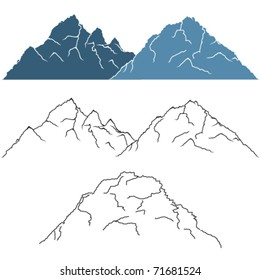Vector set of beautiful mountain silhouettes