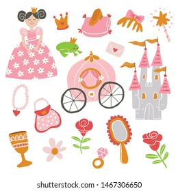 Vector set of beautiful princess, castle, carriage, frog, crown, magic wand, shoes, mirror and accessories. Vector princess. Princess vector illustration - Vector