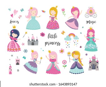 Vector set of beautiful princess, castle, carriage, rainbow, crown and accessories. Vector princess. Princess vector illustration