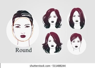 Vector set beautiful women icon portraits with different haircut and round type faces. Hand drawn illustration.