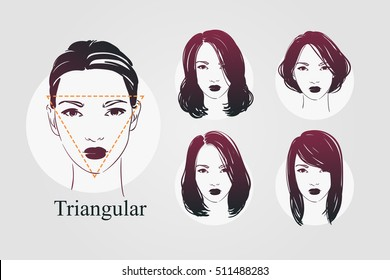 Vector set beautiful women icon portraits with different haircut and triangular type faces. Hand drawn illustration.