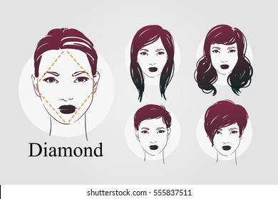 Vector set beautiful women icon portraits with different haircut for diamond type of faces. Hand drawn illustration.