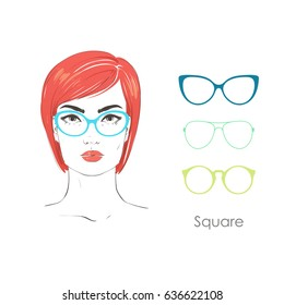 2eaaf0e71e Vector set beautiful women portrait with different haircuts and shape of  glasses for square type faces