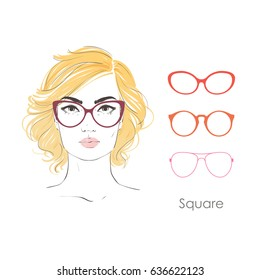 Vector set beautiful women portrait with different haircuts and shape of glasses for square type faces. Hand drawn illustration.