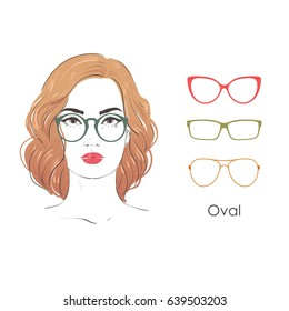 a6f91ad384 Vector set beautiful women portrait with different haircuts and shape of  glasses for oval type of