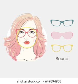 Vector set beautiful women portrait with different haircuts and shape of glasses for round type of faces. Hand drawn illustration.