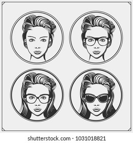 Vector set of beautiful womens in glasses.