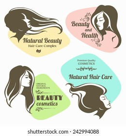 Vector set of beauty, cosmetics labels. Logo girl with long hair
