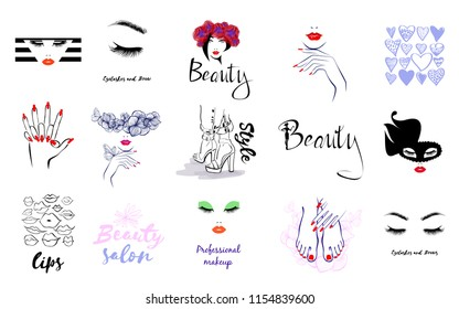 Vector Set Beauty Logo, woman's health care and beauty, logo sign sticker or label of Beauty Salon, Fashion Shoes Style, Manicure Pedicure Art, Eyelashes Brows, Professional makeup, Lips kiss, Hearts.