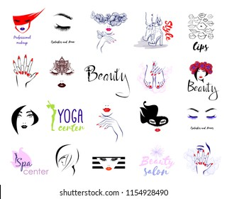 Vector Set Beauty Logo, woman's health care and beauty, logo sign sticker or label of Beauty Salon, Fashion Shoes, Manicure Pedicure Art, Eyelashes Brows, Professional makeup, Lips kiss, Spa, Yoga.