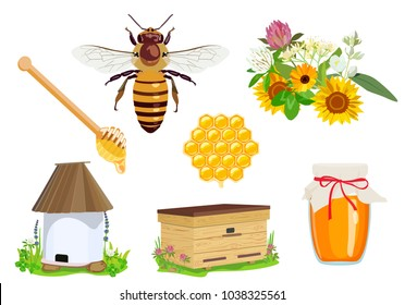 Vector set of beekeeping elements: honey, bee, flowers, apiary, beehive, wax, honeycomb, jar of honey isolated on white background. Unconventional organic medicine