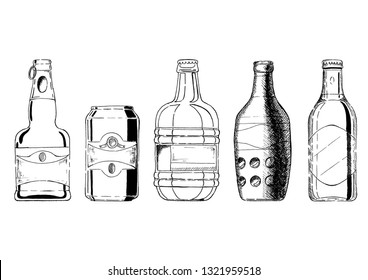 Vector set of beer bottles and beverage can in ink hand drawn style. isolated on white.