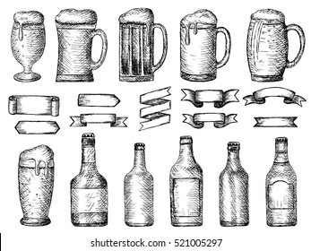vector set of beer bottles and glass