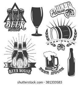 Vector set of beer brewing labels in vintage style. Pub and craft beer logo. Design elements, retro emblems and icons isolated on white background. Monochrome color.