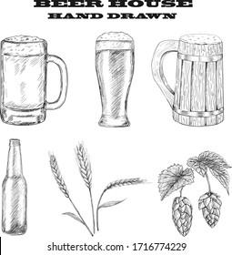 Vector set of beer glasses, mugs, bottle, hop, malt hand drawn style