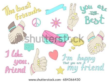 Vector Set Best Friends Sign Symbols Stock Vector Royalty Free